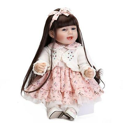 """22"""" Toddler Reborn Baby Girl Doll 55CM Soft Silicone Lifelike Bebe Toy Kid Gifts"""