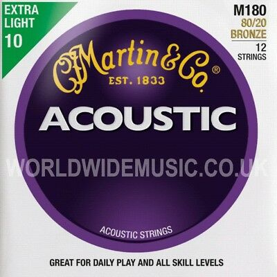 Martin M180 Acoustic Guitar Strings Bronze Extra Light Gauge 12 STRING SET 10-47