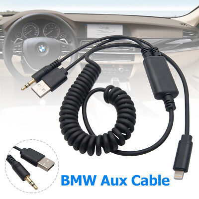 BMW/MINI Y Lightning USB to AUX Adaptor Lead Cable For Ipod Iphone 5 6 7 8 X UK