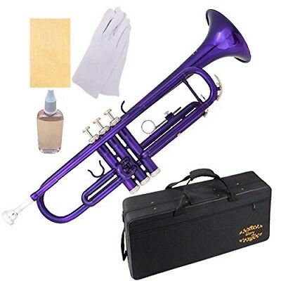(purple) - Glory Brass Bb Trumpet with Pro Case +Care Kit, Purple, More