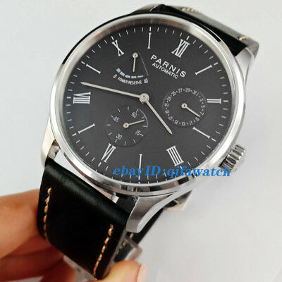 41mm Parnis Black Dial Power Reserve Seagull Automatic Movement Men's Watch 2522