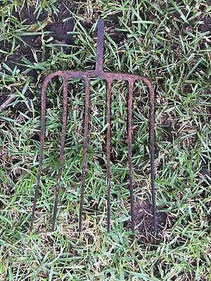 Vintage Rusty Garden Rake Head  Metal Handle Steam Punk  7 x 12