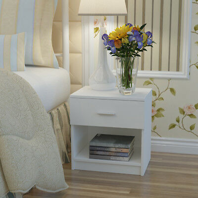 Panana Black/White high Gloss Front Wooden Bedside Table with a Drawer Bedroom