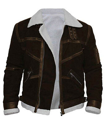Details about TOMMY HILFIGER Black Shearling Leather Bomber Jacket IT54 XL2XL