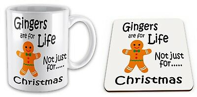 Gingers Are For Life Not Just For Christmas Funny Novelty Gift Mug & Coaster