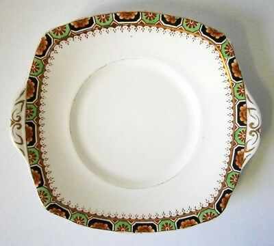VINTAGE BELL ENGLISH CHINA 1930s ART DECO 25CM WIDE SQUARE CAKE PLATE GILDING