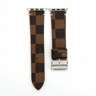 Watch Band Leather Strap For 38/40mm 42/44mm Apple 4/3/2/1 Series Grid Pattern