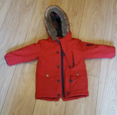 Next Boys Red Winter Coat Size 2 To 3 Years