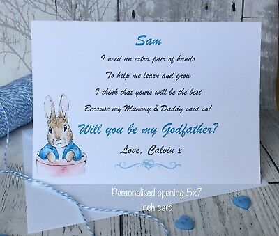 Peter Rabbit Will You Be My Godmother/Godfather/Godparents Card Personalised