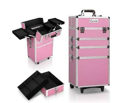 Portable Cosmetic Make Up Lockable Carry Case Pink Fast & Free Shipping
