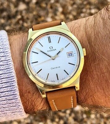 OMEGA MENS GENEVE VINTAGE GOLD WATCH MECHANICAL MOVEMENT 1970s CAL 1030 + BOX
