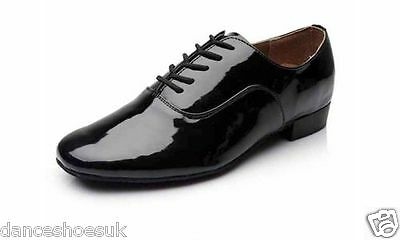 Brand New Men's Black Patent Faux Leather Ballroom Dance Shoes With Suede Soles