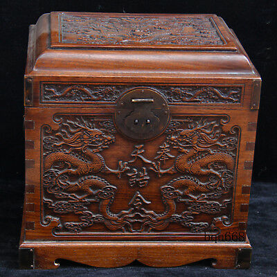 China old antique carved huanghuali wood Royal Palace Emperor seal dragon box