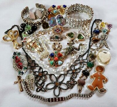 Vintage Rhinestone Jewelry Lot Repair 1 Signed West Germany 28+ Pcs