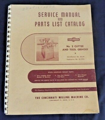 Vtg 1975 Service Manual Parts List Catalog No 2 Cutter Tool Grinder # ID-LM WOW