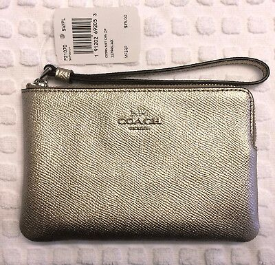 Nwt Authentic Coach Wristlet Shiny Platinum Pebbled Leather Gift Box And Tissue