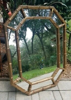 Mid-Century gold gilt faux bamboo wall mirror octagon Chinoiserie Chippendale