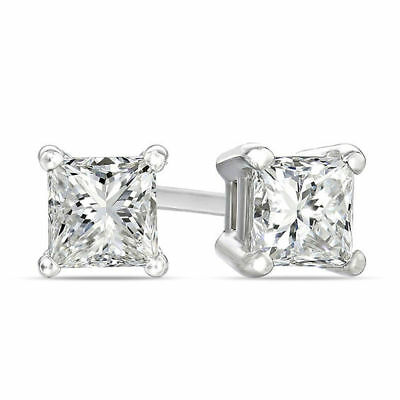 4.00 Ct Princess Diamond Solitaire Earrings 14K Solid White Gold Screw Back Stud