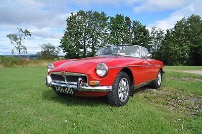 1970 Mg Mgb Roadster Chrome Bumper Tax Exempt In Red With Cream Interior