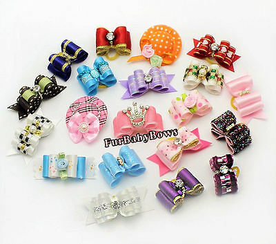 50x PET Puppy grooming dog hair Bows bands clips Yorkie  Maltese 1 Free bow