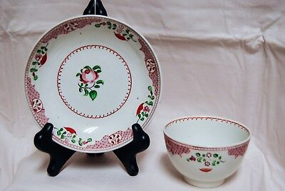Antique 19th Century English New Hall Porcelain Spring Rose Tea Bowl Cup Saucer