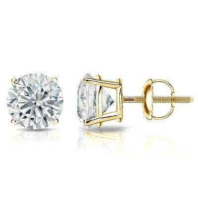 1.50 Ct Round Cut Diamond Solitaire Stud Earrings 14K Solid Yellow Gold Studs