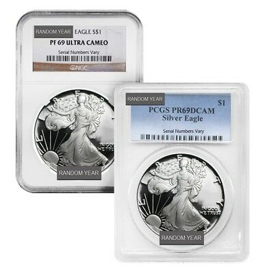 1 oz Proof Silver American Eagle NGC/PCGS PF 69 (Random Year)