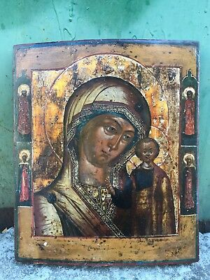 "Antique 18c Russian Orthodox Hand Painted Wood Icon ""The Vergin of Kazan"""
