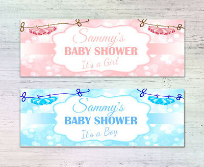 2 Personalised Baby Shower Banners Blue Pink Boy Girl Any Name