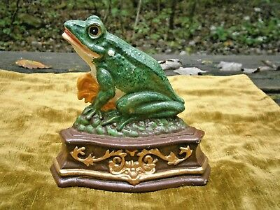 Cast Iron Frog Doorstop Garden Decor Ornament Painted 7X7 Inches