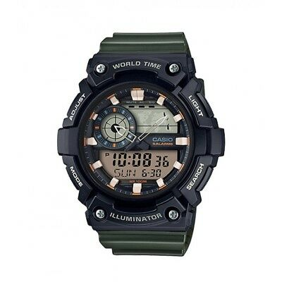 Casio Men's Quartz Super Illuminator Green Resin Band 51mm Watch AEQ200W-3AV