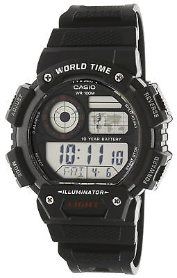 Casio Men's Quartz World Time Backlit Black Resin Band 48Mm Watch Ae1400wh-1Av
