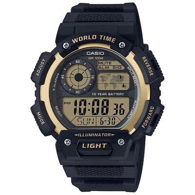 Casio Men's Quartz Illuminator Gold Accent Black Resin 48Mm Watch Ae1400wh-9Av