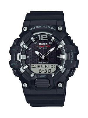 Casio Men's Quartz World Time Gray Accent Black Resin 46.5Mm Watch Hdc700-1Av