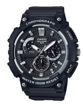 Casio Men's Quartz Chronograph Black Resin Band 53Mm Watch Mcw200h-1Av