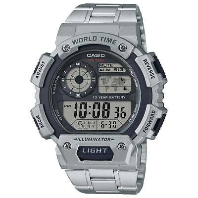 Casio Men's Quartz Illuminator World Time Silver-Tone 50mm Watch AE1400WHD-1AV