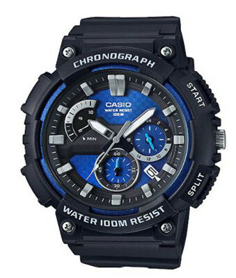 Casio Men's Quartz Chronograph Blue Dial Resin Strap 53Mm Watch MCW200H-2AV
