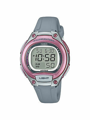 Casio Women's  Quartz Digital Illuminator Pink Resin Band 34mm Watch LW203-8A