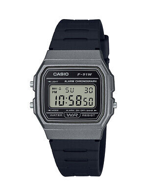 Casio Men's Quartz Alarm Chronograph Gray Dial Black Resin 33mm Watch F91WM-1B