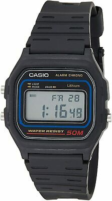 Casio Men's Quartz Alarm Chronograph Black Resin Band 36Mm Watch W59-1V