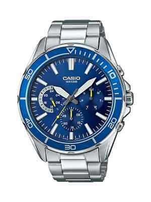 Casio Men's Quartz Dive Blue Chronograph Dial Silver-Tone 43Mm Watch Mtd320d-2A