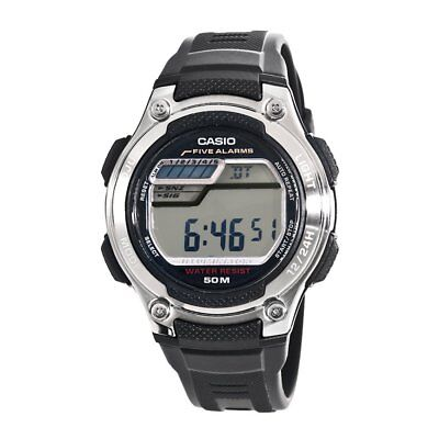Casio C4asio Men's Quartz Digital Alarm Black Resin Strap 40Mm Watch W212h-1Av