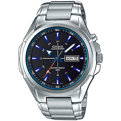 Casio Men's Quartz Illuminator Silver-Tone Bracelet 47Mm Watch Mtpe200d-1A2v