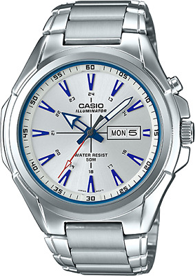 Casio Men's Quartz Illuminator Blue Index Silver-Tone 50Mm Watch Mtpe200d-7A2v