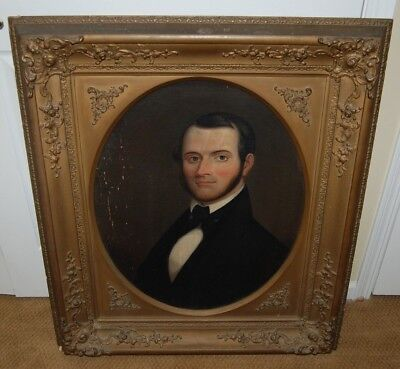 Antique (Mid 19th Century American School) Portrait of a Gentleman Oil Painting