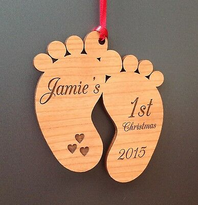 wooden personalised Babys 1st Christmas bauble first xmas Tree Decoration