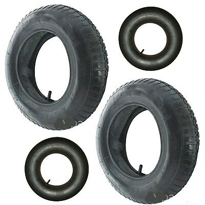 2 Wheelbarrow Wheel Inner Tube + 2 Barrow Tyre 3.50 - 8 + Innertube 35PSi