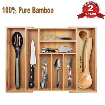 Expandable Bamboo Flatware Tray Cutlery and Utility Drawer Organizer 8
