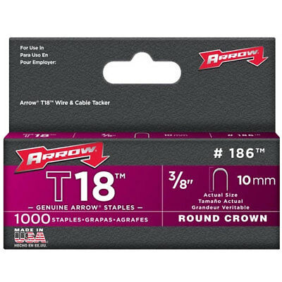 "Arrow T18 Round Crown Staples Size: 3/8"" - 10mm Pack: 1000"