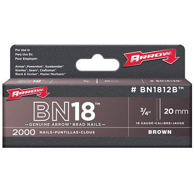 "Arrow BN1812B Brad Nails Brown Head Size: 3/4"" - 20mm Pack: 2000"